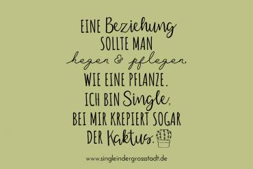 Eine Beziehung sollte man hegen und pflegen, wie eine Pflanze. Ich bin Single, bei mir krepiert sogar der Kaktus.